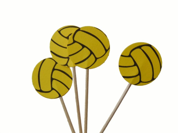 24 Bright Yellow Volleyball Cupcake Toppers Volleyball Party