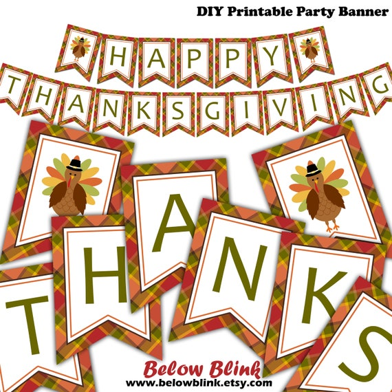 Happy Thanksgiving Banner Printable Fall Banner Give