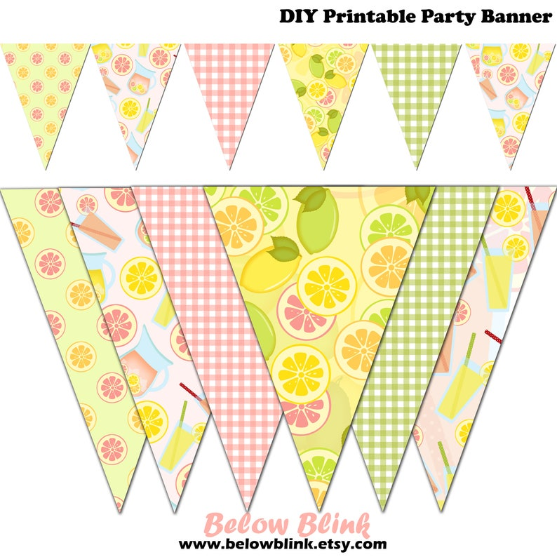photo about Lemonade Signs Printable referred to as Red Lemonade Banner, Lemon Printable Banner, Lemonade Celebration Pennant Banner, Images - Immediate Down load - DP470