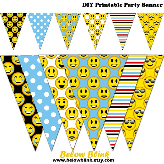 Emoji Banner Smiley Printable Party Pennant Birthday Photography