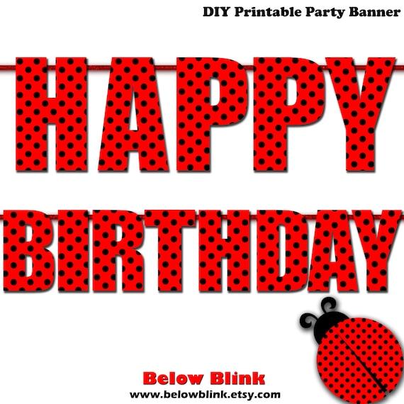 Printable Ladybug Happy Birthday Banner 1st Birthday Banner Red