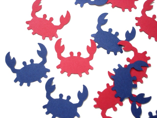 50 Navy Blue Red Crab Confetti, Under the Sea, Nautical Party, Ahoy it's a Boy - No621