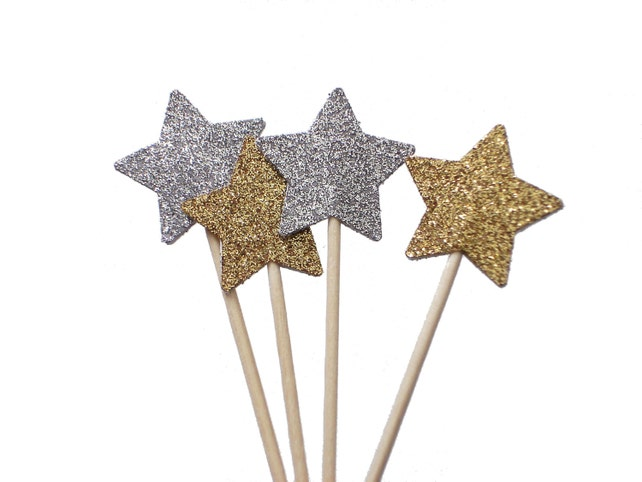 Glitter Star Cupcake Toppers, Twinkle Twinkle Little Star, Star Party Picks, Prince, Princess Star Theme Party, New Years Eve Decor - No239