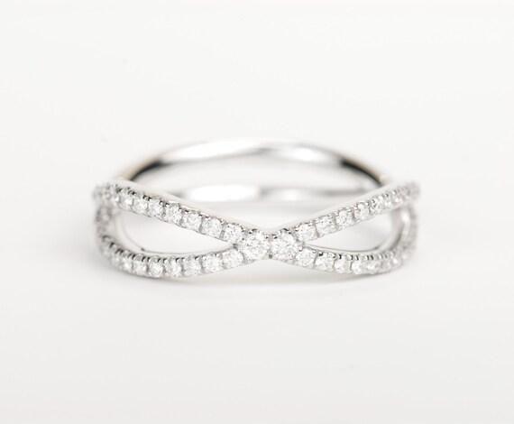 Certified E F Vvs Vs Infinity Diamond Wedding Band 14k Etsy