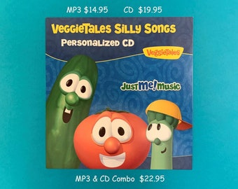 Personalized Veggie Tales Silly Songs CD- Real character voices!  Uses Name 40 X MP3 14.95, CD 19.95 , Best Option! MP3 & CD Combo 22.95