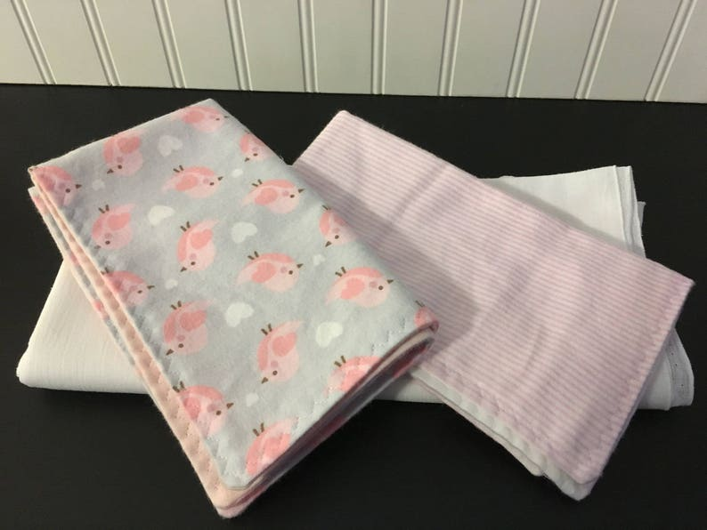 Pink or white muslin swaddler with burp cloth options baby girl gift- Pink Birds Great baby shower gift You choose color and option
