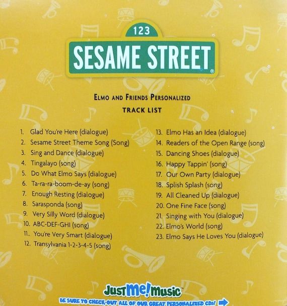 Personalized Elmo CD The real voice of Elmo uses your child's name 56 X's Digital Option Available Quality archival CD's used