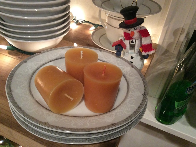 3 Brandied Pear Beeswax Votives