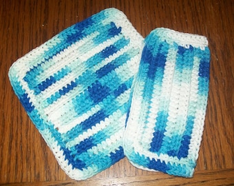 Cotton Crocheted Washclothes--Set of 2