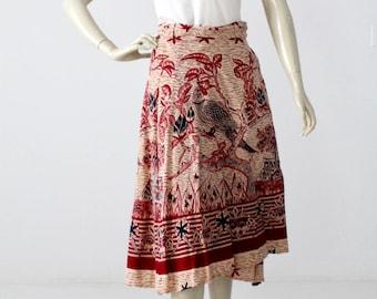 1970s India cotton wrap skirt, bird print hippie skirt