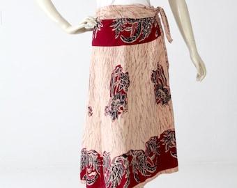 vintage 70s India cotton wrap skirt, boho skirt