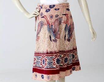 1970s India cotton wrap skirt, bird print