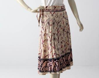 boho wrap skirt, vintage hippie wrap around block print skirt or dress