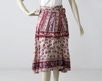 vintage 70s wrap skirt, block print cotton skirt