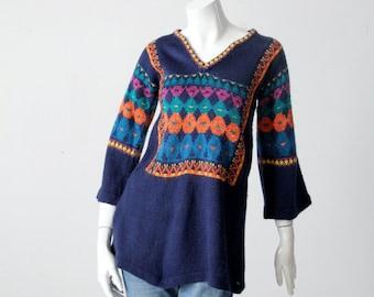 vintage 70s blue hippie sweater