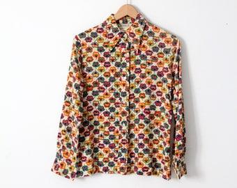 vintage 70s novelty print nylon blouse