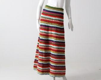 vintage striped knit maxi skirt