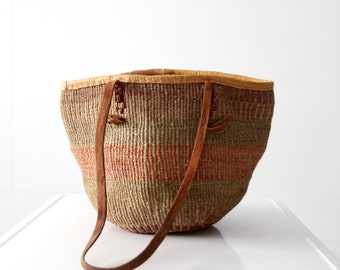 vintage jute and leather tote, sisal bag, beach bag, market basket shoulder bag