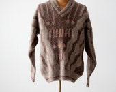 vintage men 39 s pullover sweater with shawl collar, geometric pattern mohair sweater