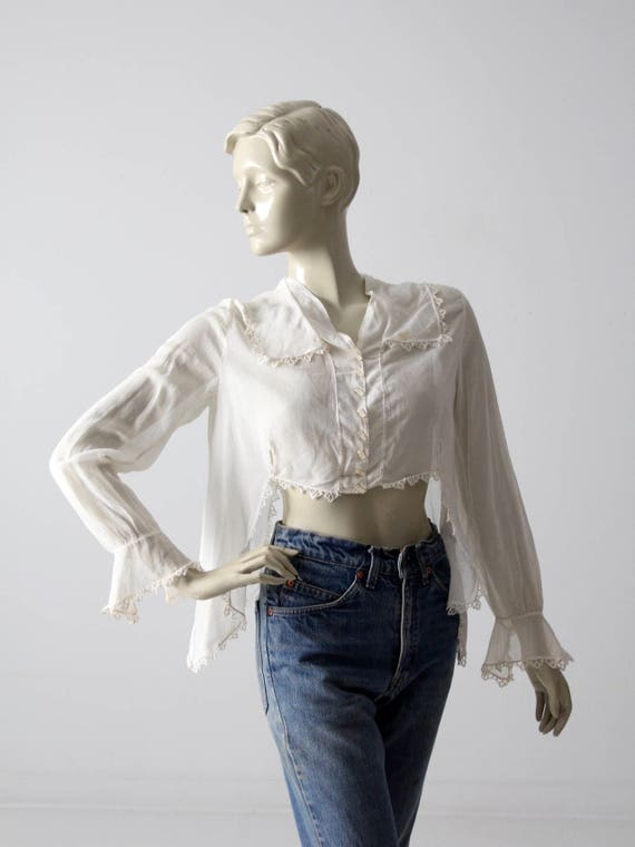 1900s blouse, Victorian white top, antique cotton… - image 1