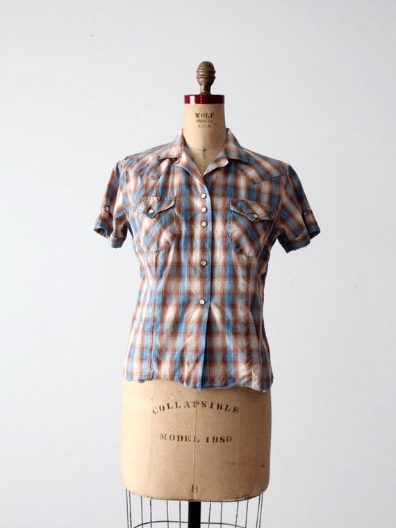 H Bar C women's shirt, 60s western rockabilly blo… - image 4