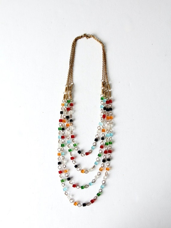 vintage multi chain beaded necklace - image 1