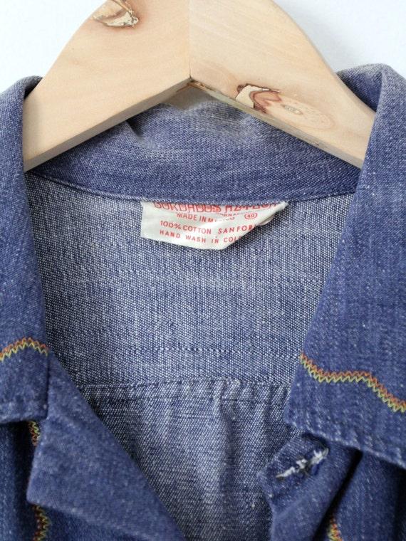 vintage 70s denim shirt / embroidered hippie top - image 5