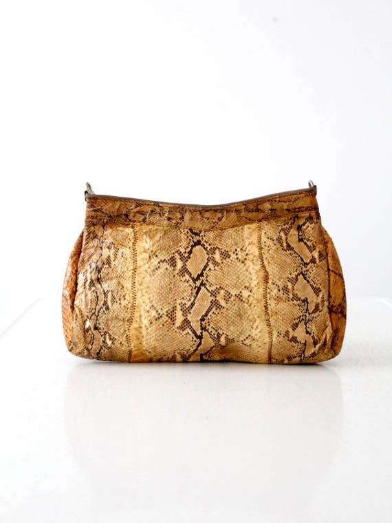 vintage snakeskin bag, yellow snakeskin clutch pur