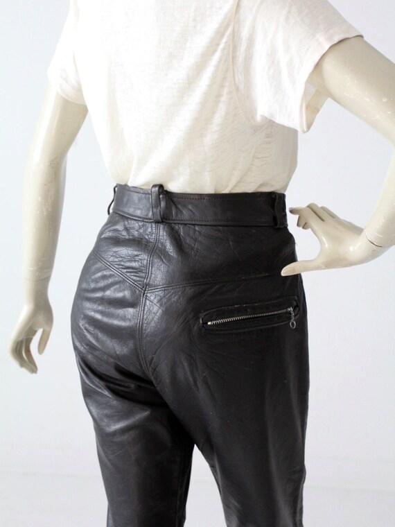 1970s black leather pants, vintage motorcycle pan… - image 4