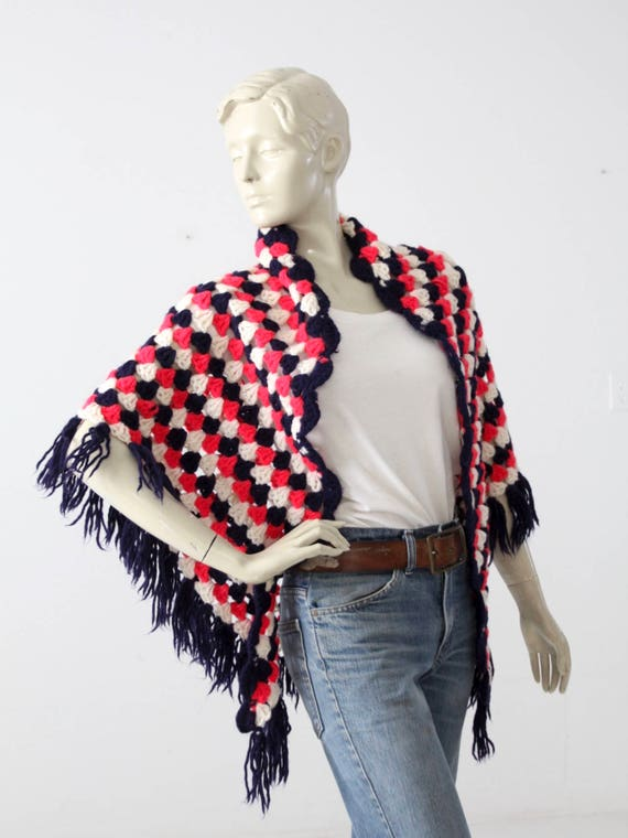 vintage 70s knit shawl, red white and blue, sweate