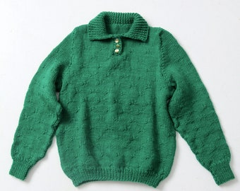 vintage green hand-knit pullover sweater