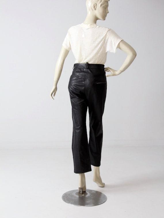 1970s black leather pants, vintage motorcycle pan… - image 2