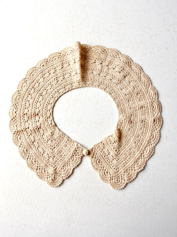 antique lace collar, hand crotchet - image 4