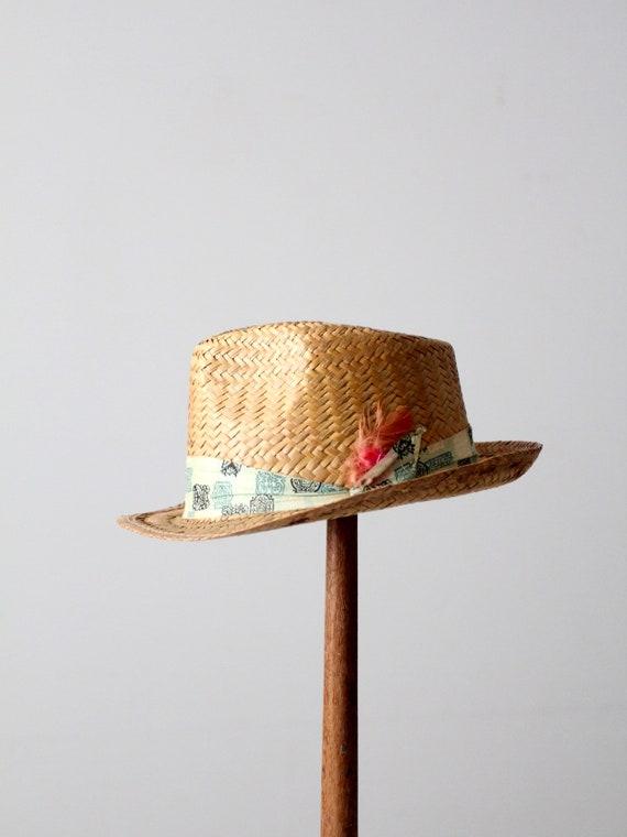 vintage straw fedora hat