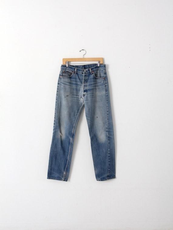 vintage 501 Levi's denim jeans, distressed Levis … - image 1