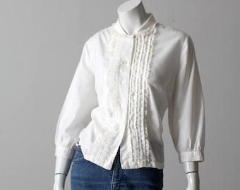 vintage 60s Judy Bond white ruffle lace blouse