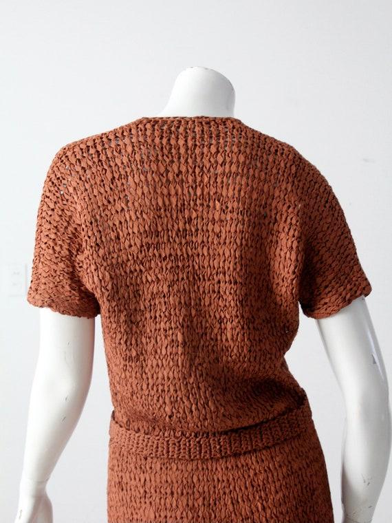 vintage 1940s knit ribbon dress - image 6