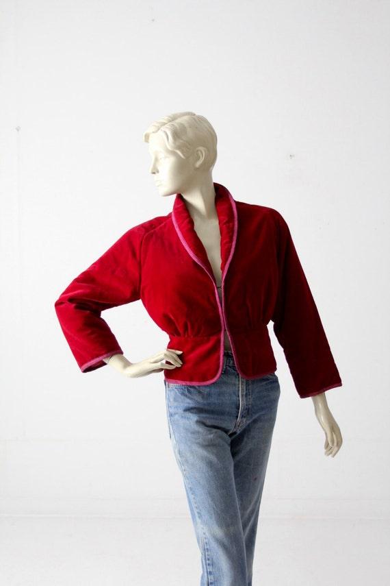 vintage velvet jacket with appliqué, red fitted b… - image 1