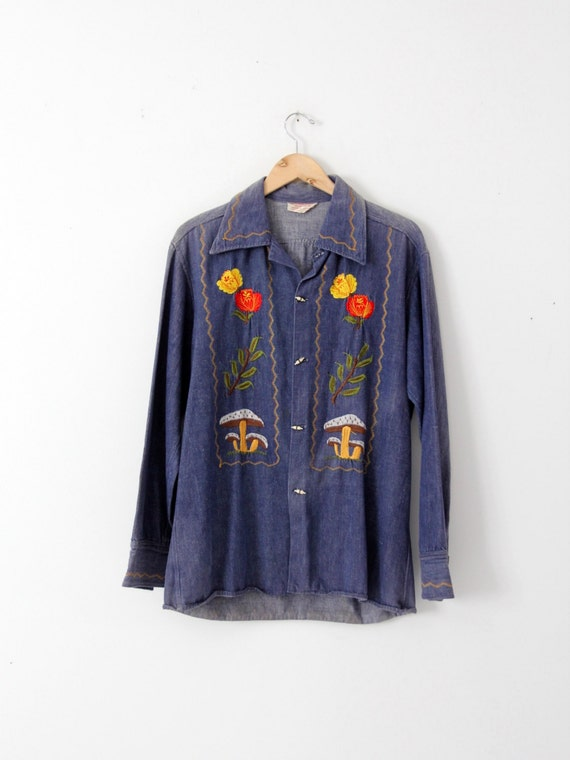 vintage 70s denim shirt / embroidered hippie top