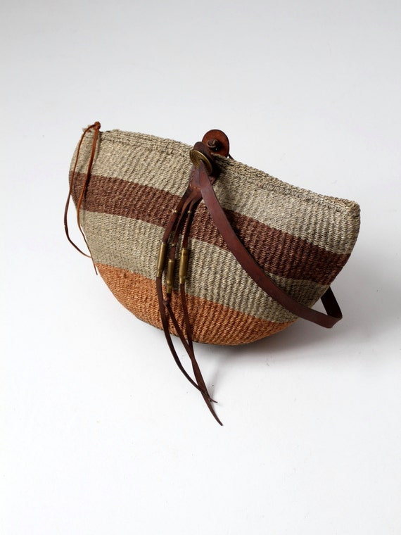 sisal tote, jute and leather market bag, basket ba