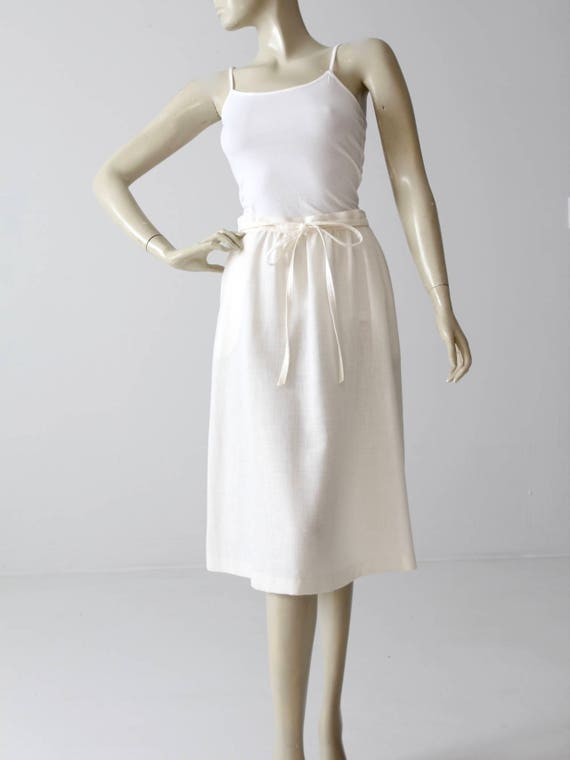 vintage wrap skirt, white linen wrap around skirt