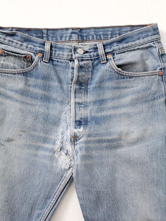 vintage 501 Levi's denim jeans, distressed Levis … - image 5