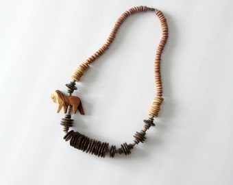 vintage lion chunky wood bead necklace