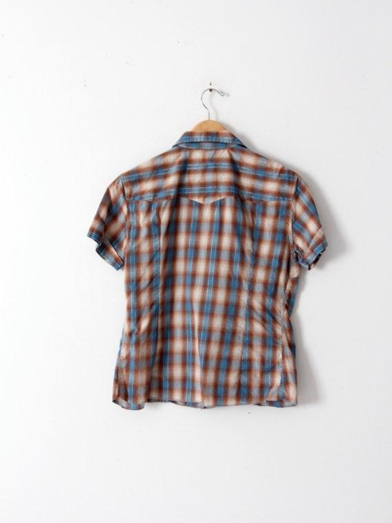 H Bar C women's shirt, 60s western rockabilly blo… - image 7