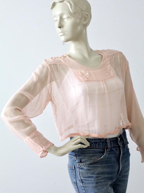 antique silk blouse, Edwardian pink top - image 7