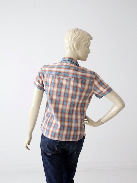 H Bar C women's shirt, 60s western rockabilly blo… - image 3