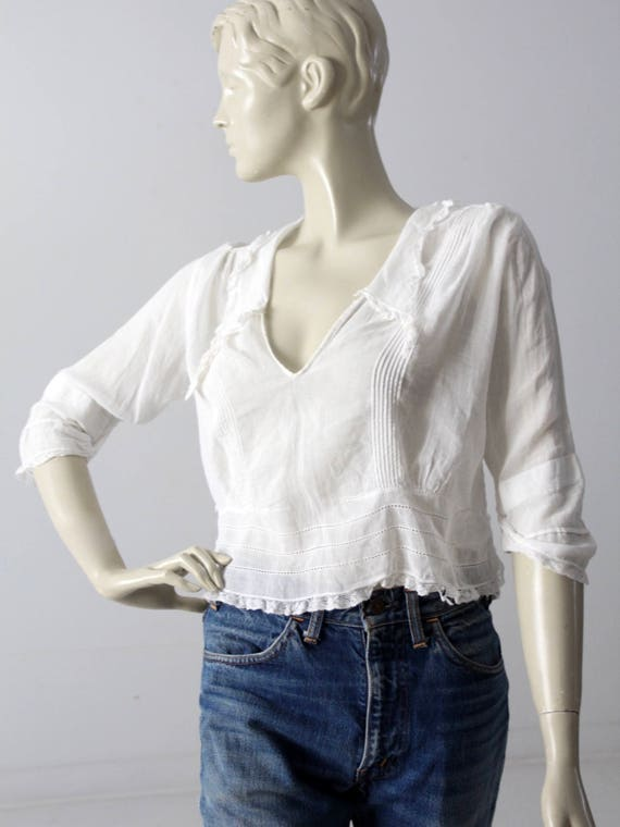 Edwardian blouse, antique white cotton top - image 7