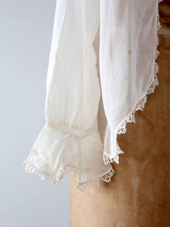 1900s blouse, Victorian white top, antique cotton… - image 8