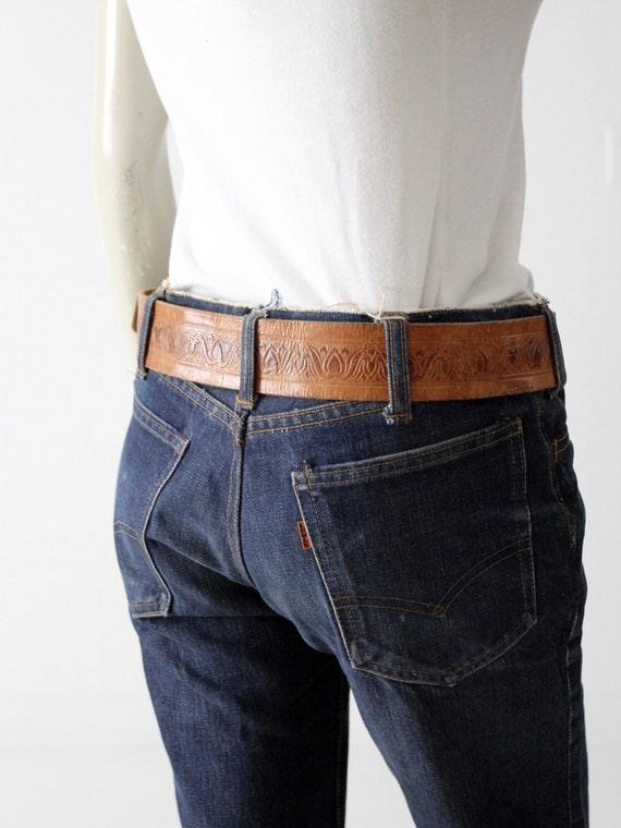 vintage leather belt, tooled brown belt with leat… - image 5