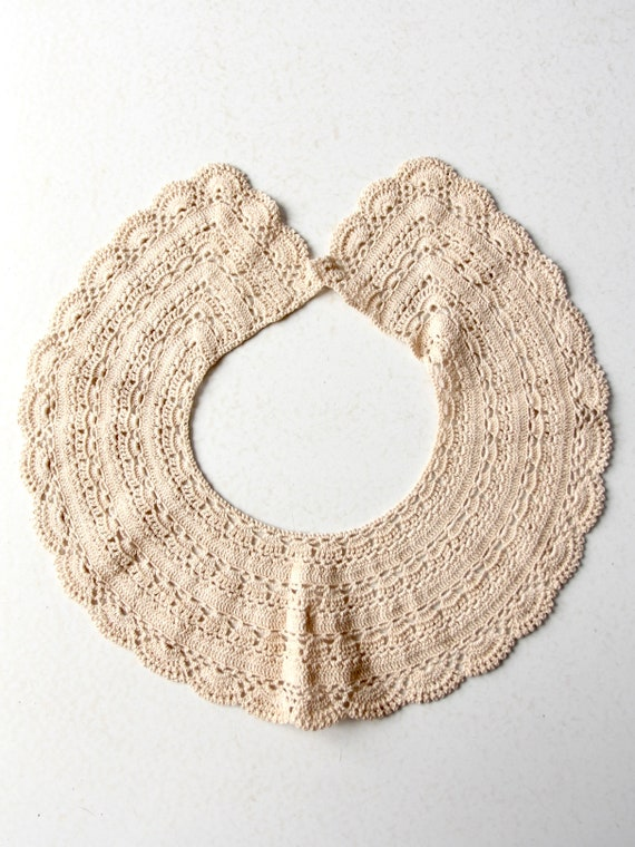 antique lace collar, hand crotchet - image 10